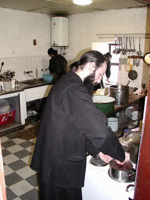 Fr. Ilarion cooking