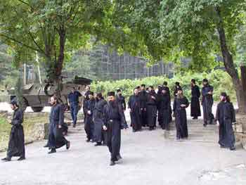 Decani Monks in front of the monastery