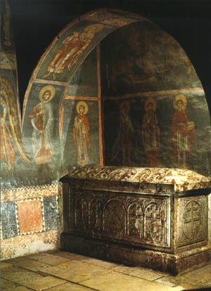 The tomb of Archbishop Daniel, 13 cent. Patriarchate of Pec, Kosovo