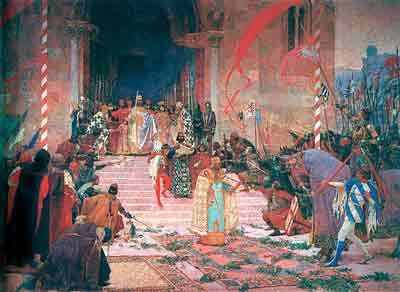 The coronation of Emperor Dusan in Skopje