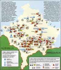 The map of destroyed churches and monasteries in Kosovo