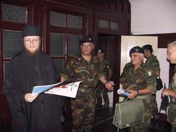 Gen Ottogalli and Fr. Sava in Decani