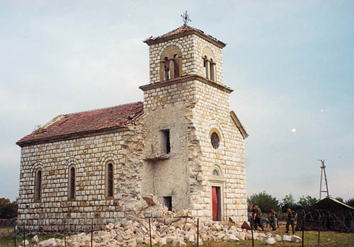 The church damaged in summer 1999