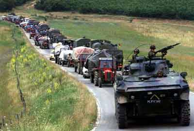 A Serb refugee convoy leaving Kosovo