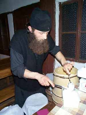 Fr. Daniel processing the milk cream
