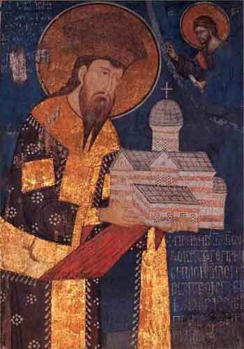 St. King Stefan of Decani, fresco 14th cent.