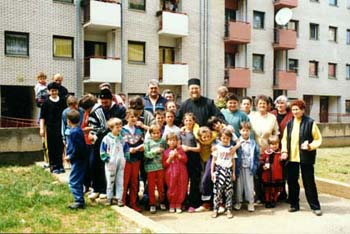 Fr. Sava with the children in Pristina